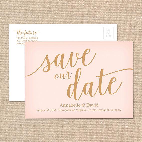 DIY Save The Date Printable Editable Wedding Save The Date - Editable postcard template
