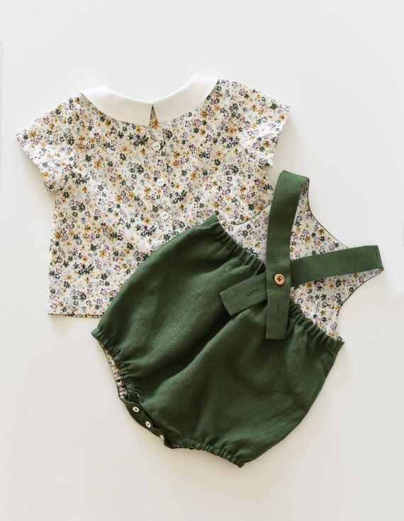 14076143d Baby Outfit, Girl Outfit, Linen Romper, Floral Top, Peter Pan Collar, Girls  Onesie, Baby Romper, Mus
