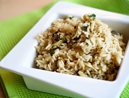 Coconut Scented Rice (or use Quinoa) with Toasted Almonds & Mint