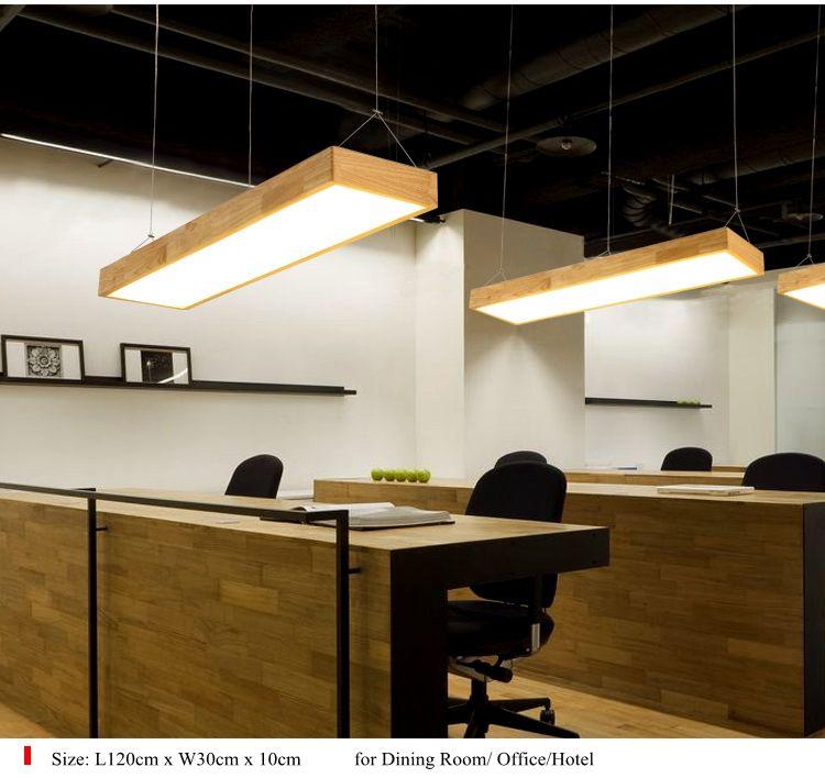 Study Room Lighting For Lukloy Pendant Lights Natural Wood Modern Rectangular Long Lamp Hotel Hall Shop Commercial Study