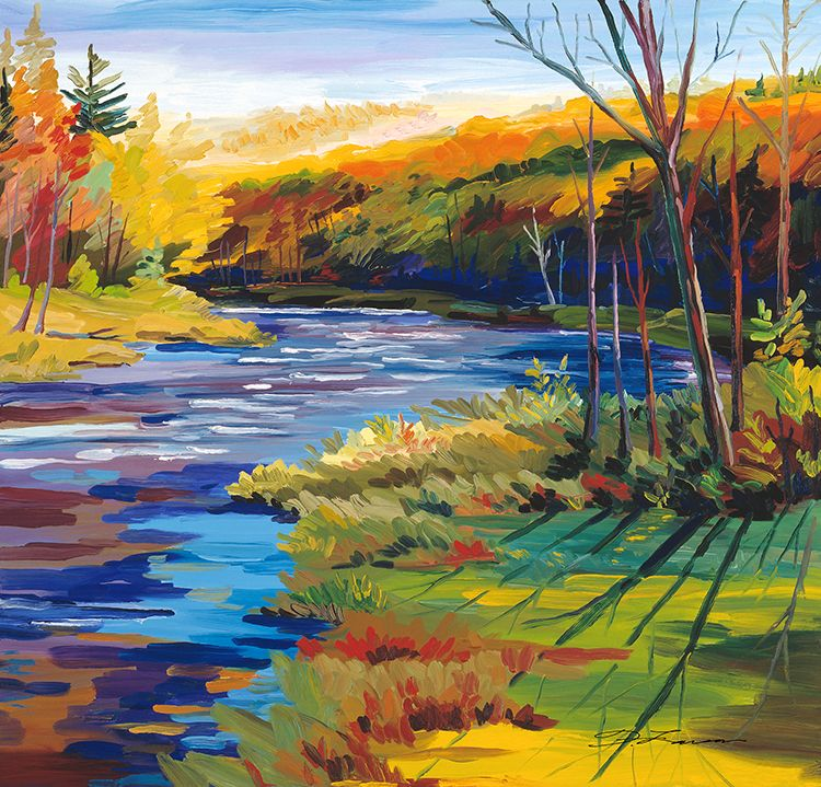 Fall River By Frank Larson Colorful Landscape Nature Paintings Collage Landscape
