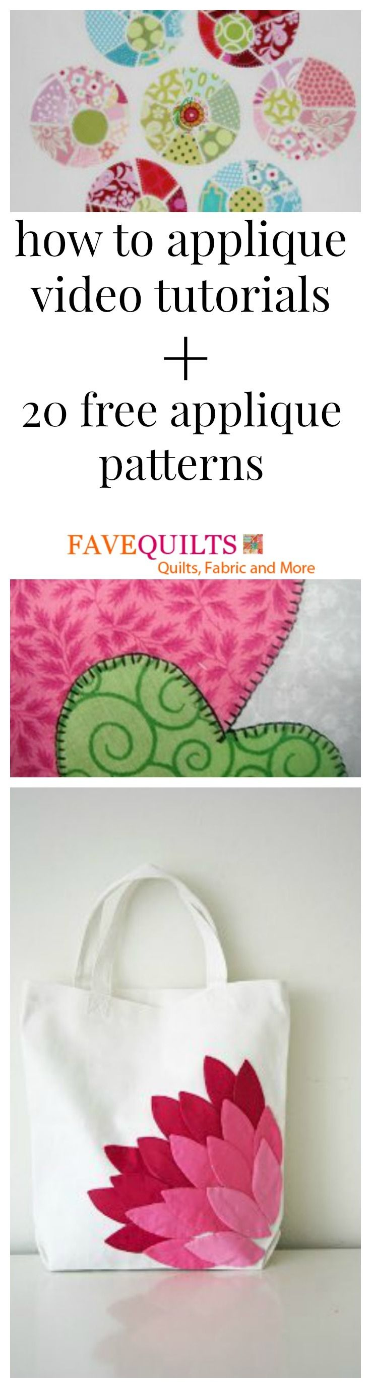 How to Applique Videos + 20 Free Applique Designs | FaveQuilts.com