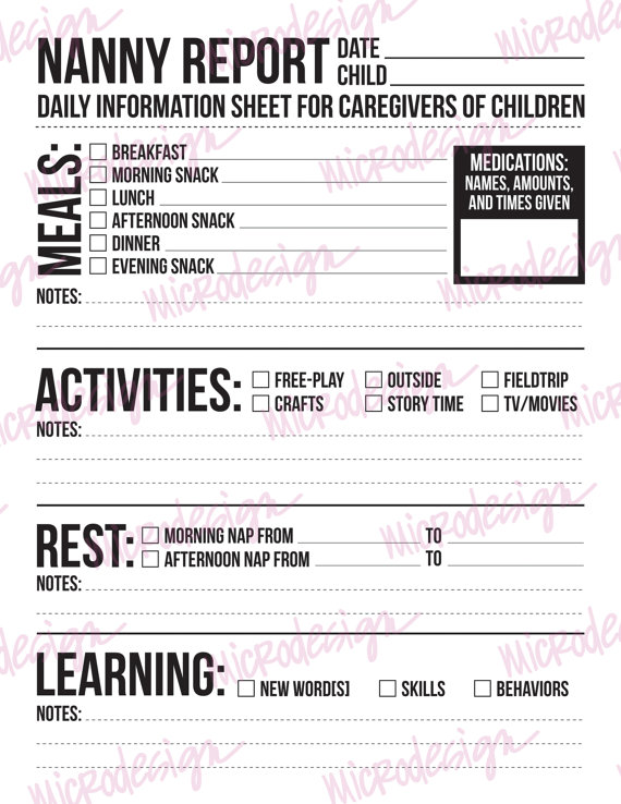Nanny Report Daily Information Sheet for Caregivers of Young - babysitting information sheets