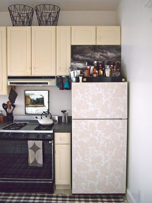 Wallpaper Use Ideas Popsugar Home Removable Tiles Are The Perfect Solution For Hiding An Unattractive Al Fridge