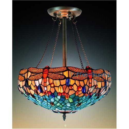 Tiffany Style Stained Glass Chandelier Inverted Hanging Stained