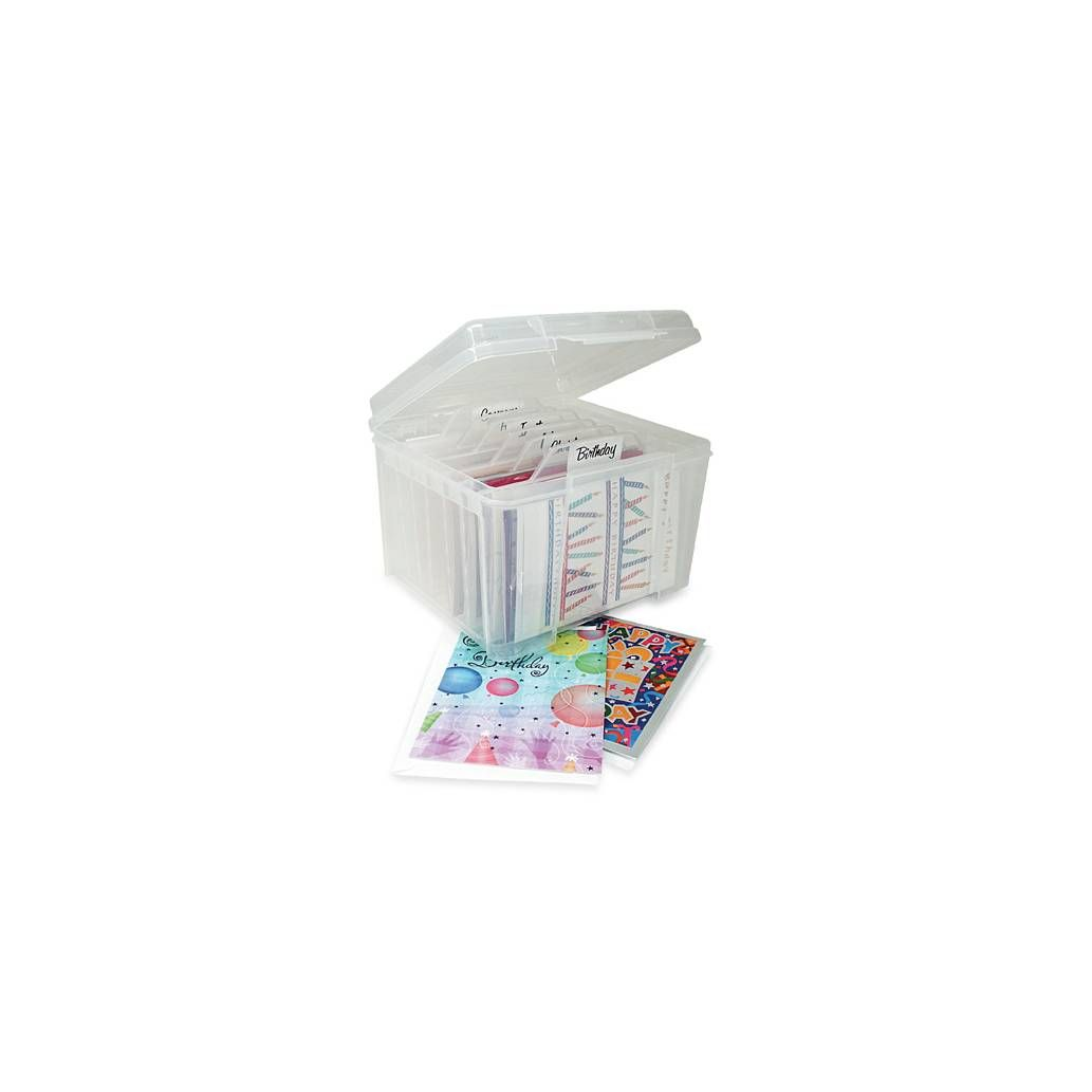 Product Image For Iris Usa Card Storage Box With Dividers