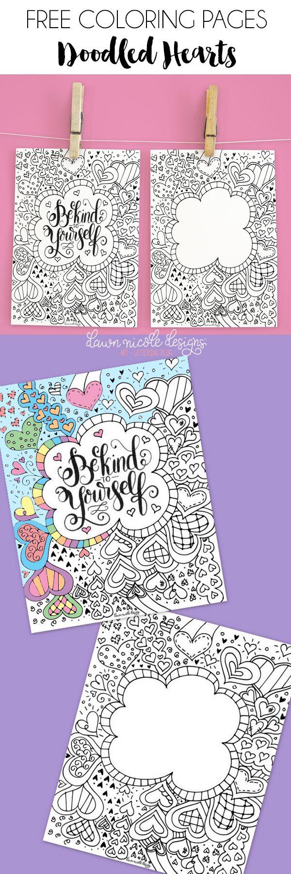 Doodled Hearts Free Coloring Pages | Mandalas, Colorear y Dibujo
