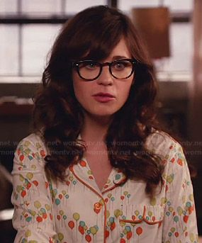 Jess s balloon print pajamas on New Girl. Outfit Details  http   wornontv d45f0d78b
