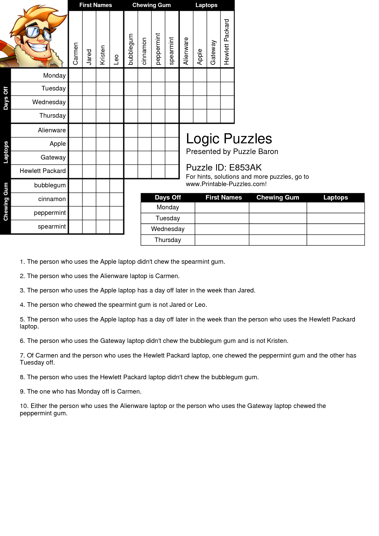 Fan image regarding printable logic grid puzzles