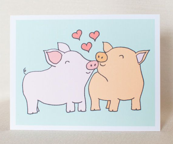 Pigs love card pig anniversary card pig wedding card pig