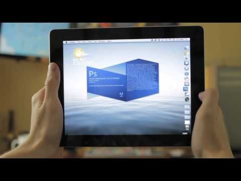 User opens Photoshop on their iPad using Splashtop  Get full access     Download the Splashtop Remote Desktop app today  http   itunes apple  com us app splashtop remote desktop for id382509315 mt 8