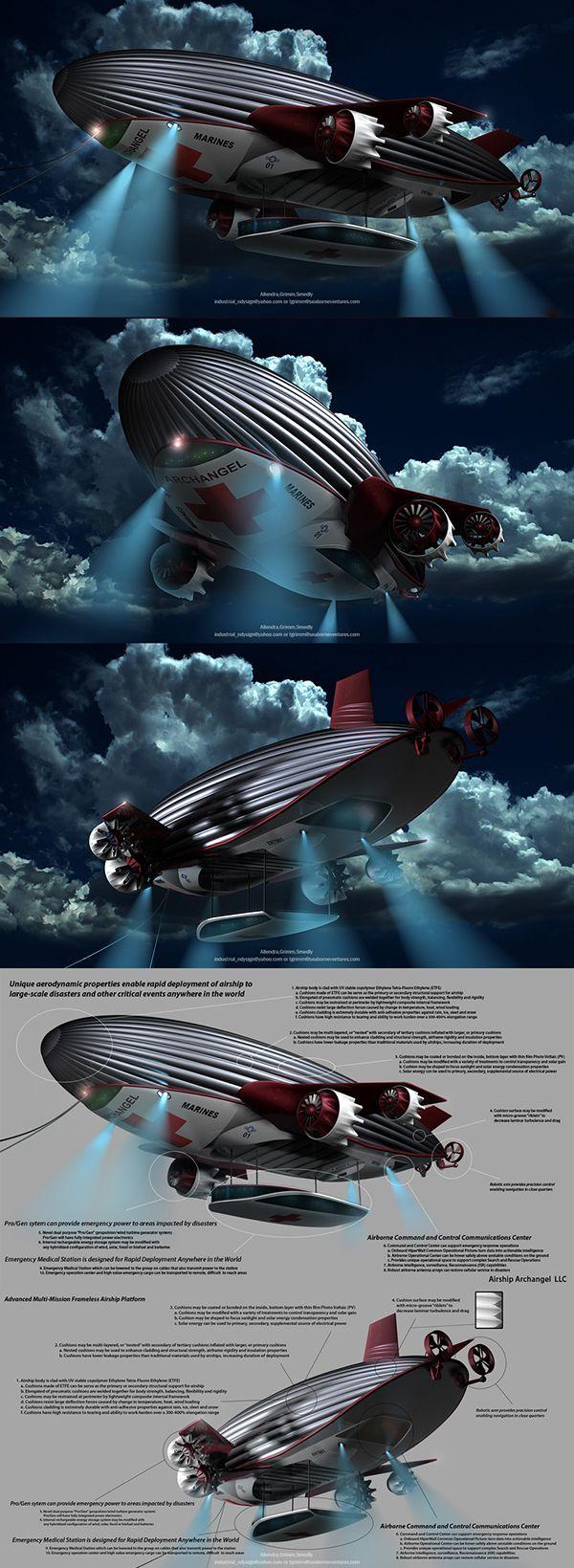 AIRSHIP ARCHANGEL on Behance Airship, Steampunk airship