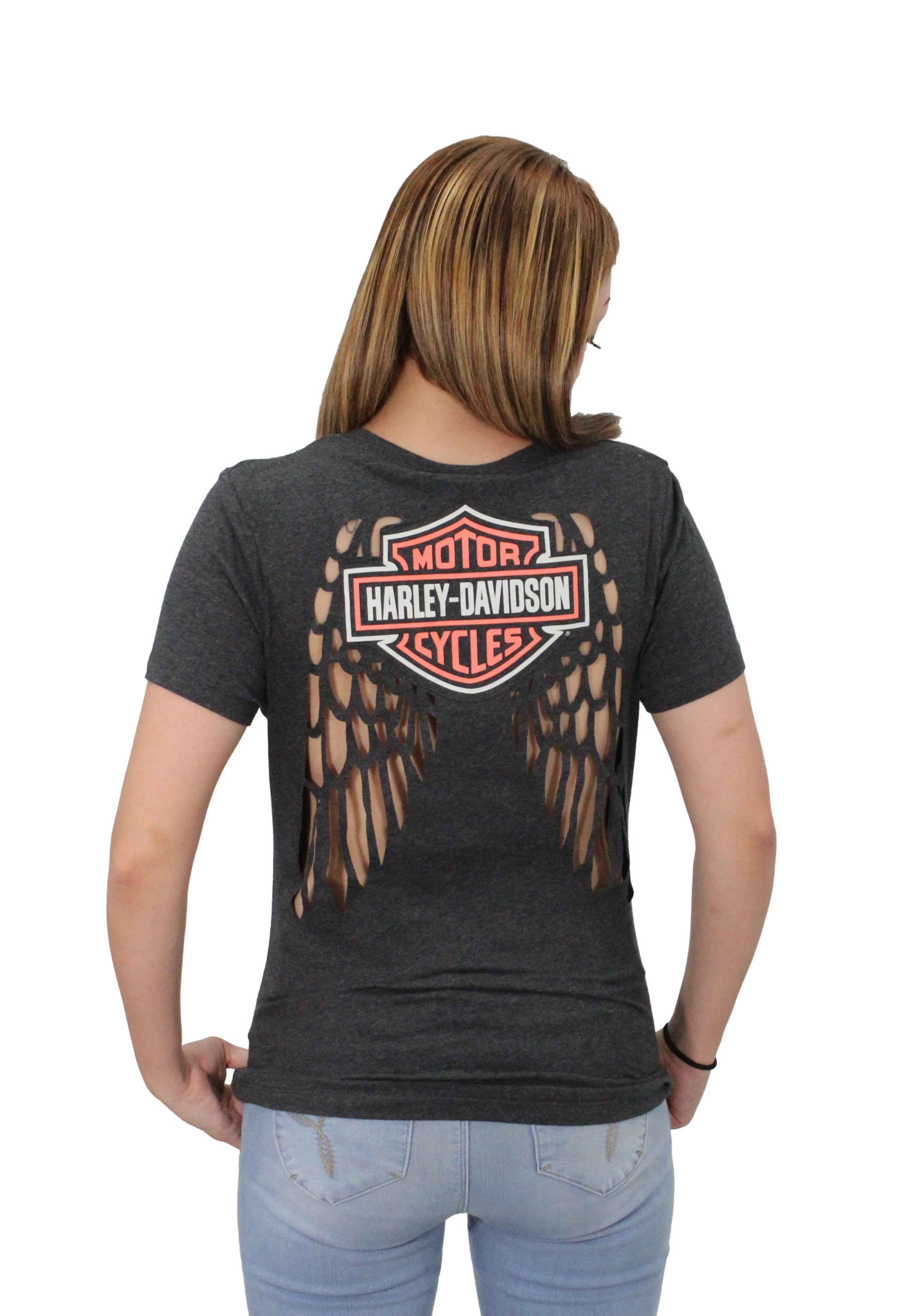 1efb5b53 Harley-Davidson® Womens Chambered Iron Laser Cut Wings with B&S Black Short  Sleeve T-Shirt