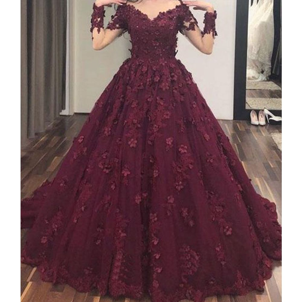 Wine Red Prom Dresses Sweetheart Prom Dresses Lace Prom Dresses Flowers Prom Dresses Burgundy Evening Dresses Long Sleeve Prom Dresses V Neck Evening Dres In 2021 Burgundy Evening Dress Prom Dresses [ 1000 x 1000 Pixel ]