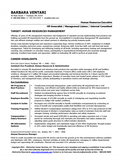 Sample Resume For An Hr Manager Page 1 Human Resources