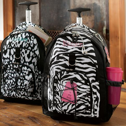 Gear-Up Black Zebra Rolling Backpack | PBteen | Book bags ...