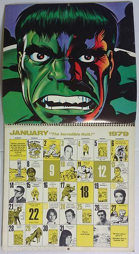 Mighty Marvel Comics The Incredible Hulk 1979 Calendar Rare Vg