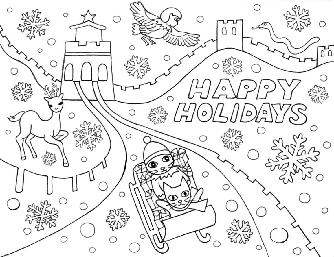 Happy Holidays Coloring Pages Winter Coloring Pages Halloween Coloring Pages