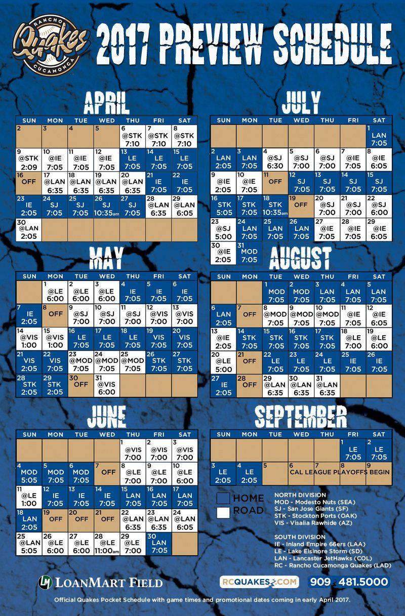 Rancho Cucamonga Quakes Baseball 2017 Schedule Things To Do Around
