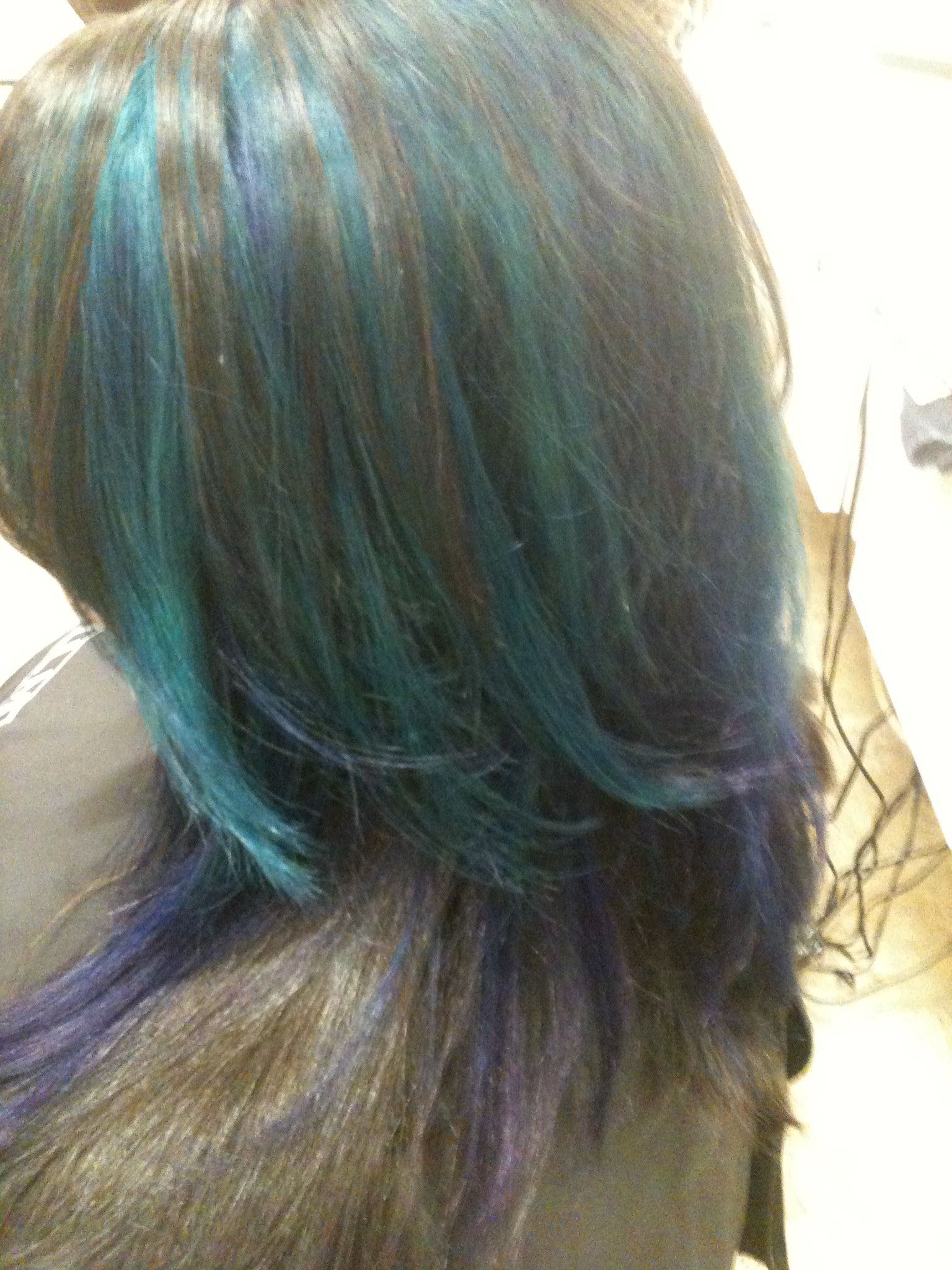 Peacock colors Teal and blue hair stylist Wendy brownPeacock