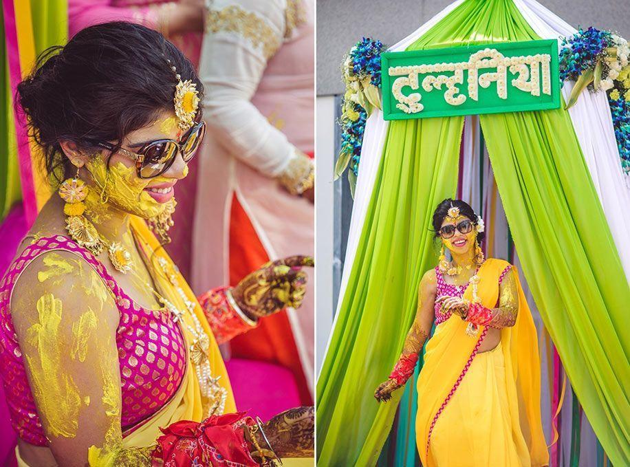 A yellow saree and hot pink blouse for Bride Meenals haldi