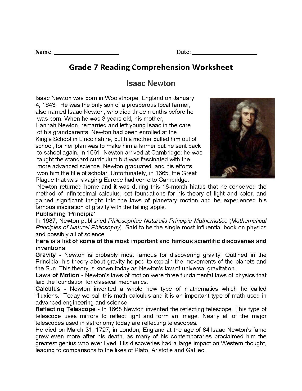 Isaac Newton Seventh Grade Reading Worksheets