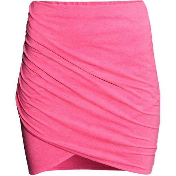 H&M Wrap skirt (€6,35) ❤ liked on Polyvore featuring skirts, faldas, cerise, pink wrap skirt, cotton jersey, cotton skirt, wrap around skirt and pink skirt