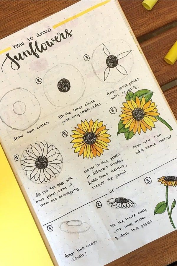 25+ Best Sunflower Bullet Journal Spreads For 2020 - Crazy Laura