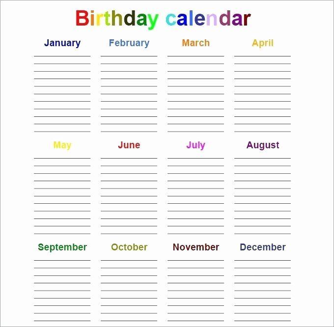 Perpetual Birthday Calendar Template Elegant Perpetual