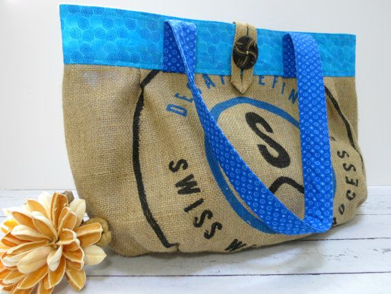 XL Blue Beach Tote, Sackleinen, die Recycling-Kaffee Bag, Upcycled umgewidmet