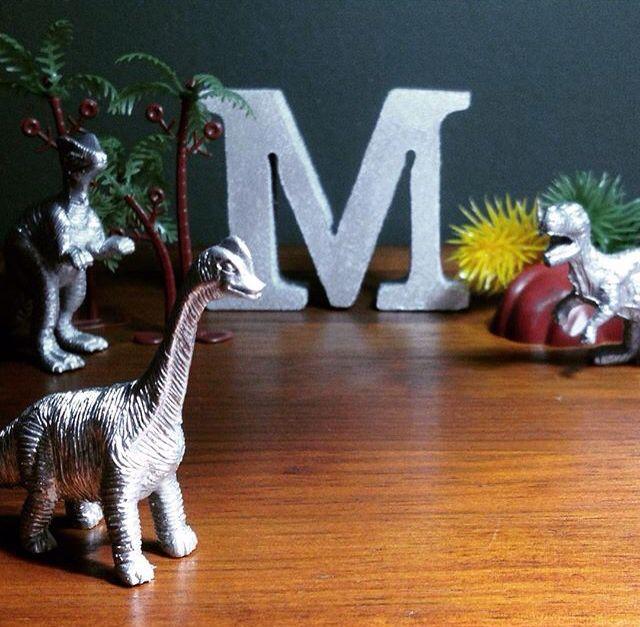 Letra do nome em mdf e dinossauro de plástico pintados