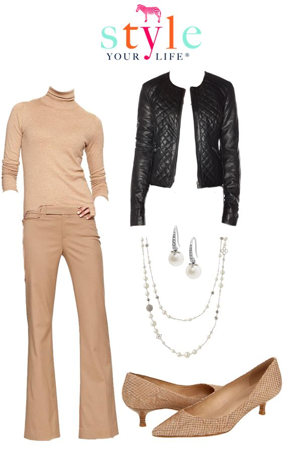 The Leather Trend: Sophisticated Get a little dress with head to toe camel and a black leather jacket.