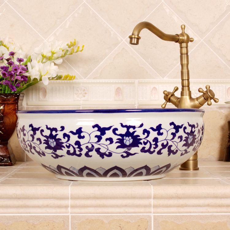 299 0us China Artistic Procelain Handmade Europe Vintage Lavabo Washbasin Ceramic Bathroom Sink Counter Top Ceramic Oval Wash Basin Round Wash Basin Wash Bas Decoracion De Cocina Mexicana Fregaderos Y Lavabos Decoracion Cuartos New top ceramic bathroom size