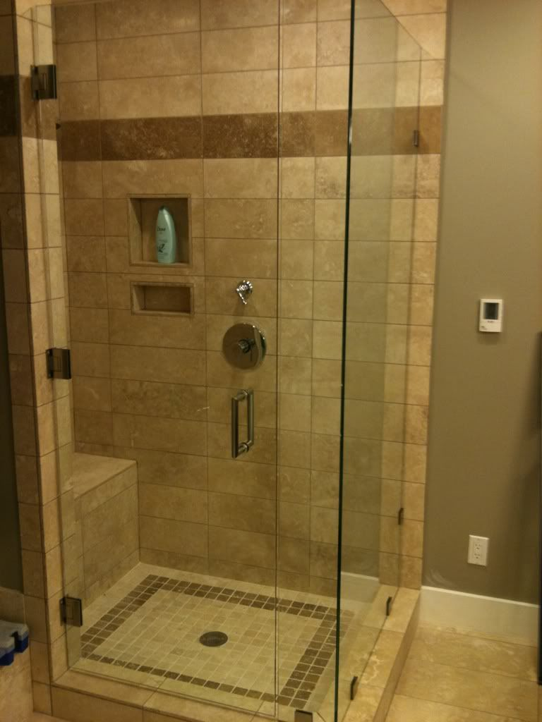 I Want My Shower To Look Like This Except I D Want Only One Wall To Have A Door On It The Rest Would Shower Tile Master Bathroom Renovation Tuscan Bathroom