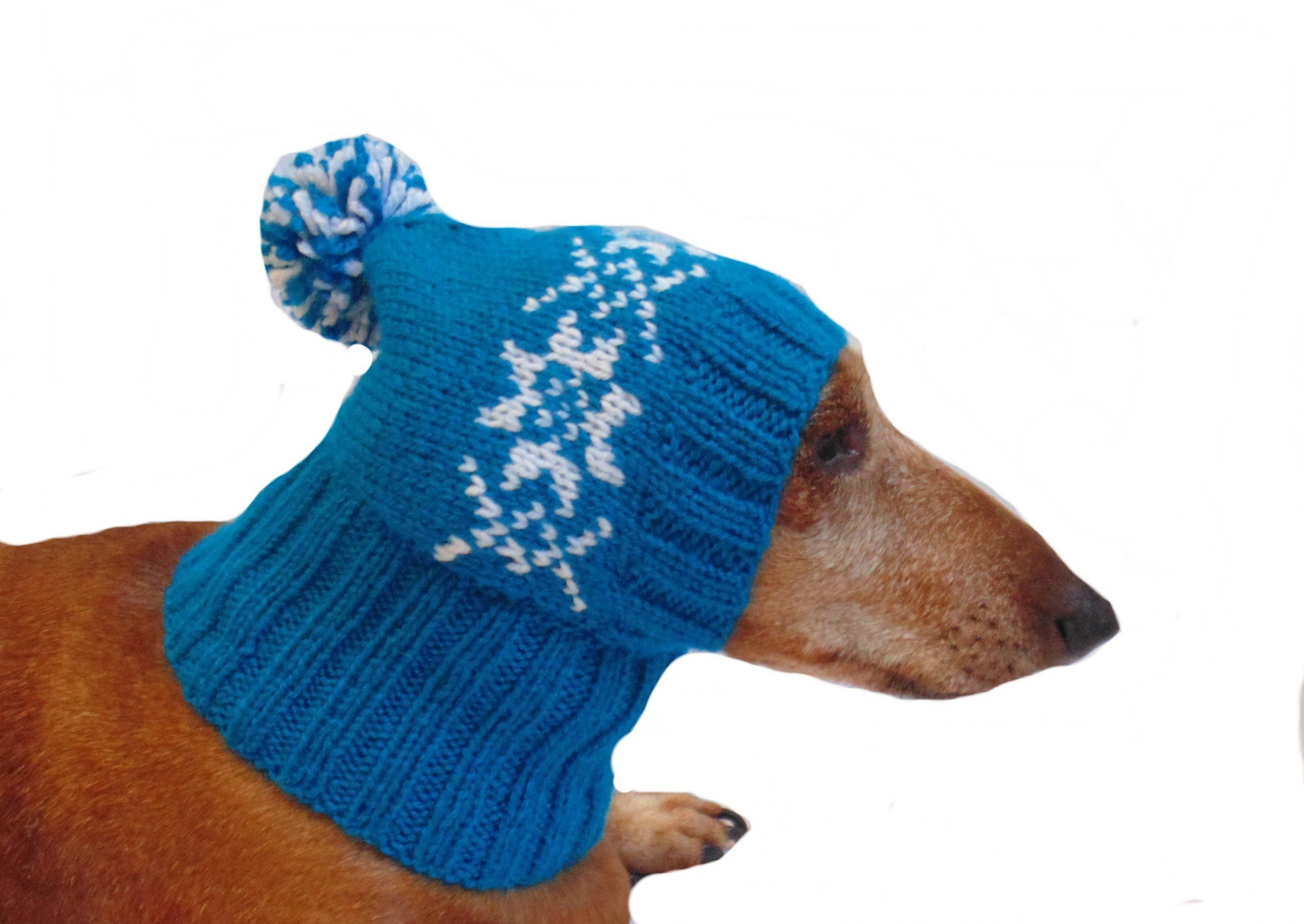 Blue Knitted Hat With Snowflakes For A Small Dachshund Dog Etsy Dog Hat Dog Sweaters Winter Knit Hats