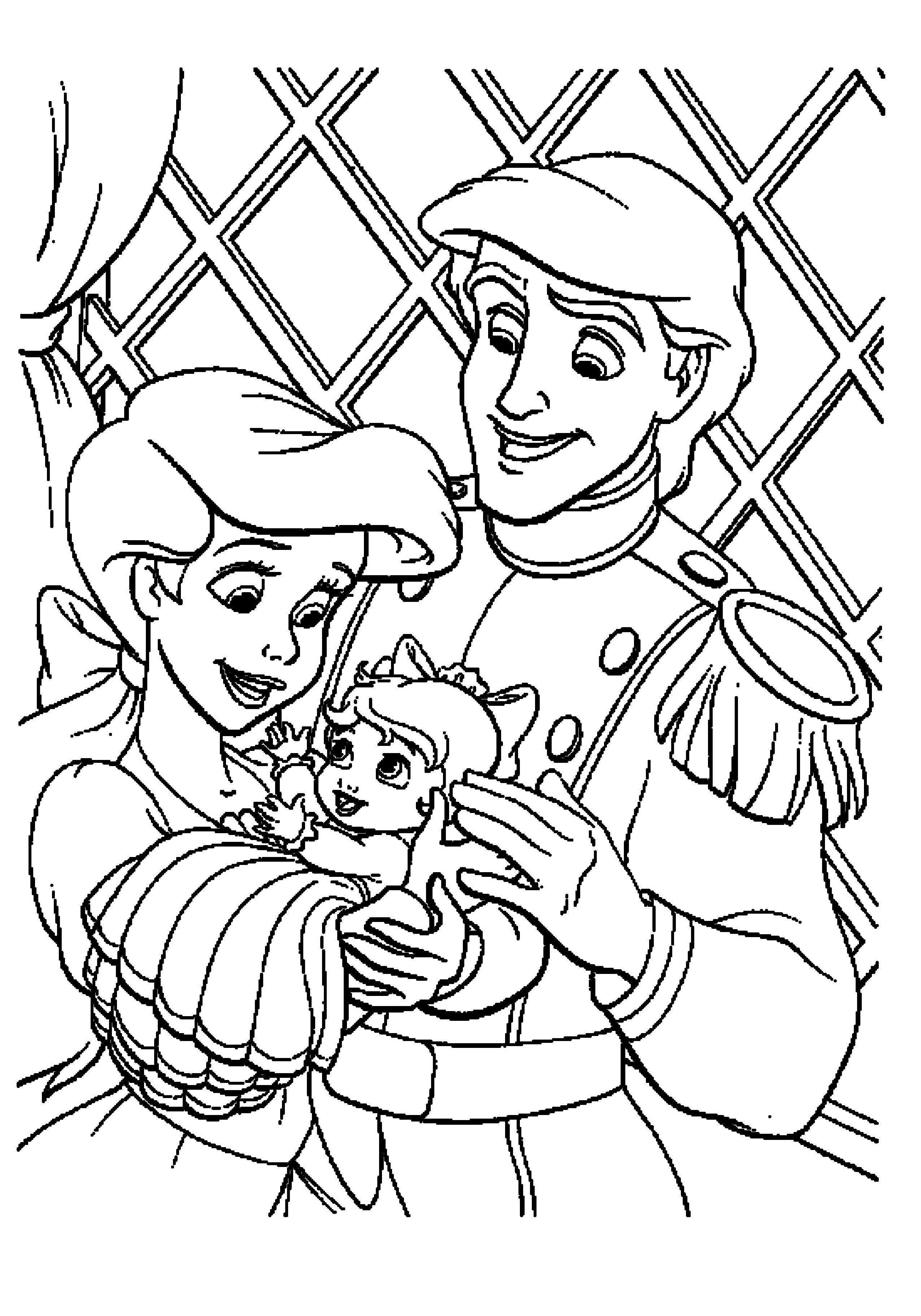 Ariel Little Mermaid Coloring Pages Family Prince And Kids Jpg