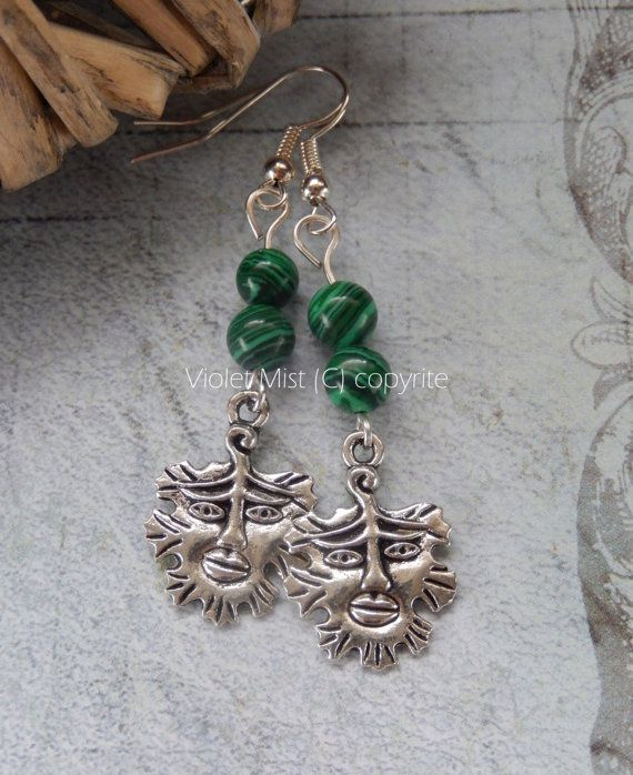 Tibetan silver Green Man and Green Malachite Bead Drop Earrings Silver-plated Hooks.