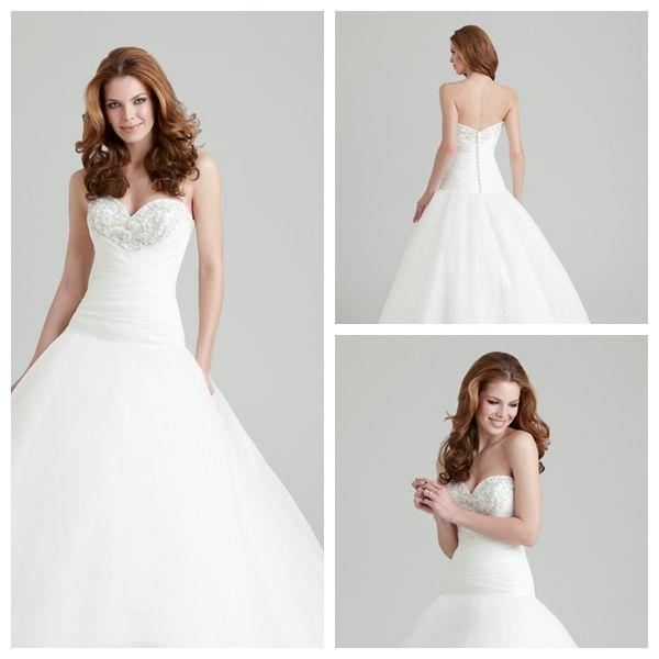 Best Designer Wedding Dresses: Shiny Organza A-Line Sweetheart Designer Wedding Dress