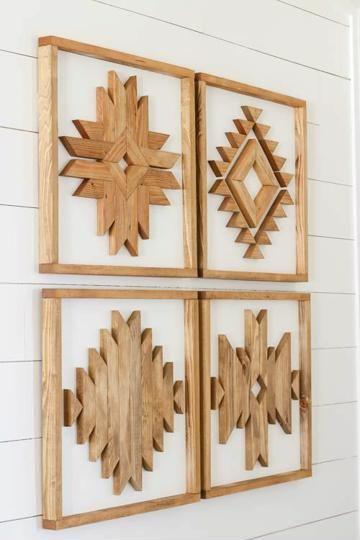 8 diversos y originales adornos de madera para pared