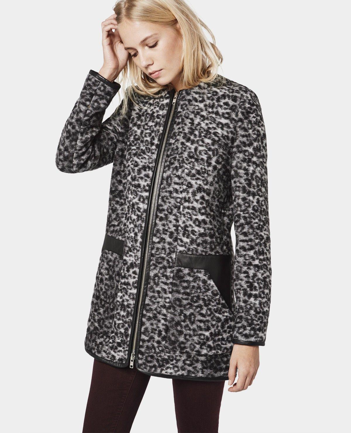 Manteau en léopard à col rond et empiècements en cuir - Best sellers - Femme - The Kooples