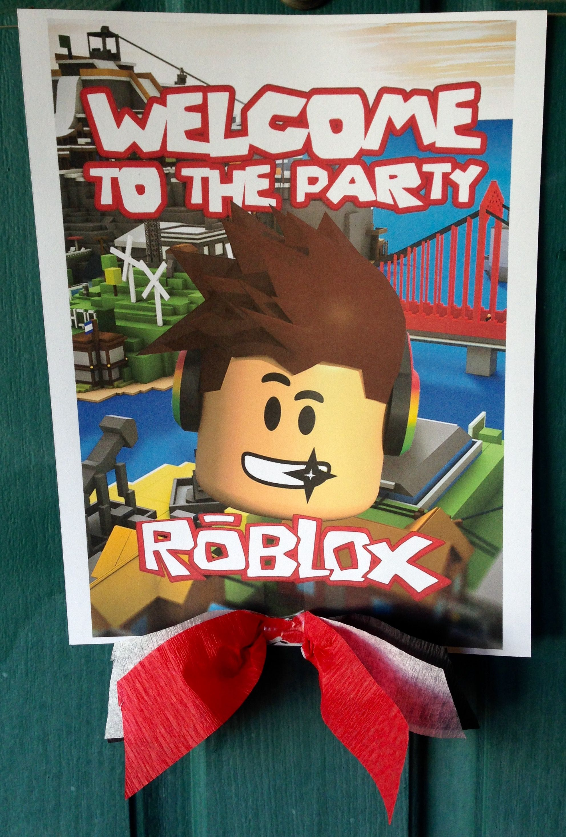 Roblox Birthday Party Sign Party Decorations Pinterest