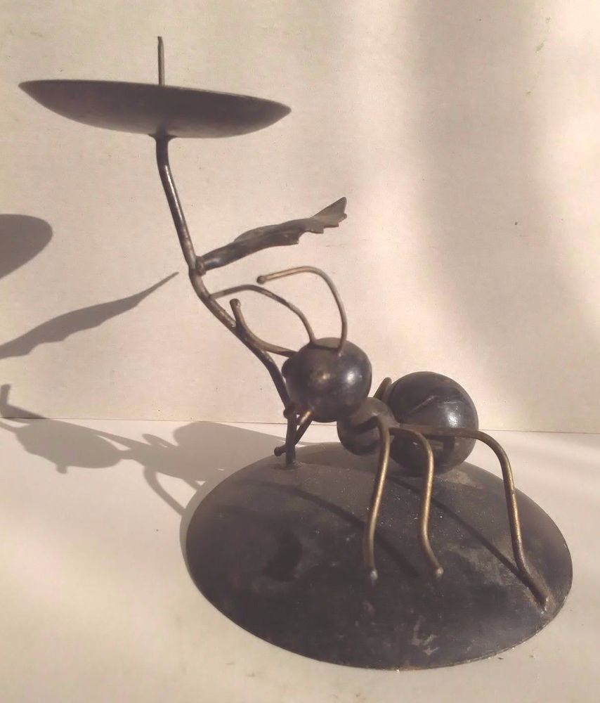 Candle Holder Iron Decor Black Ant Candlestick Wrought Home  # Muebles Katherine Tonala