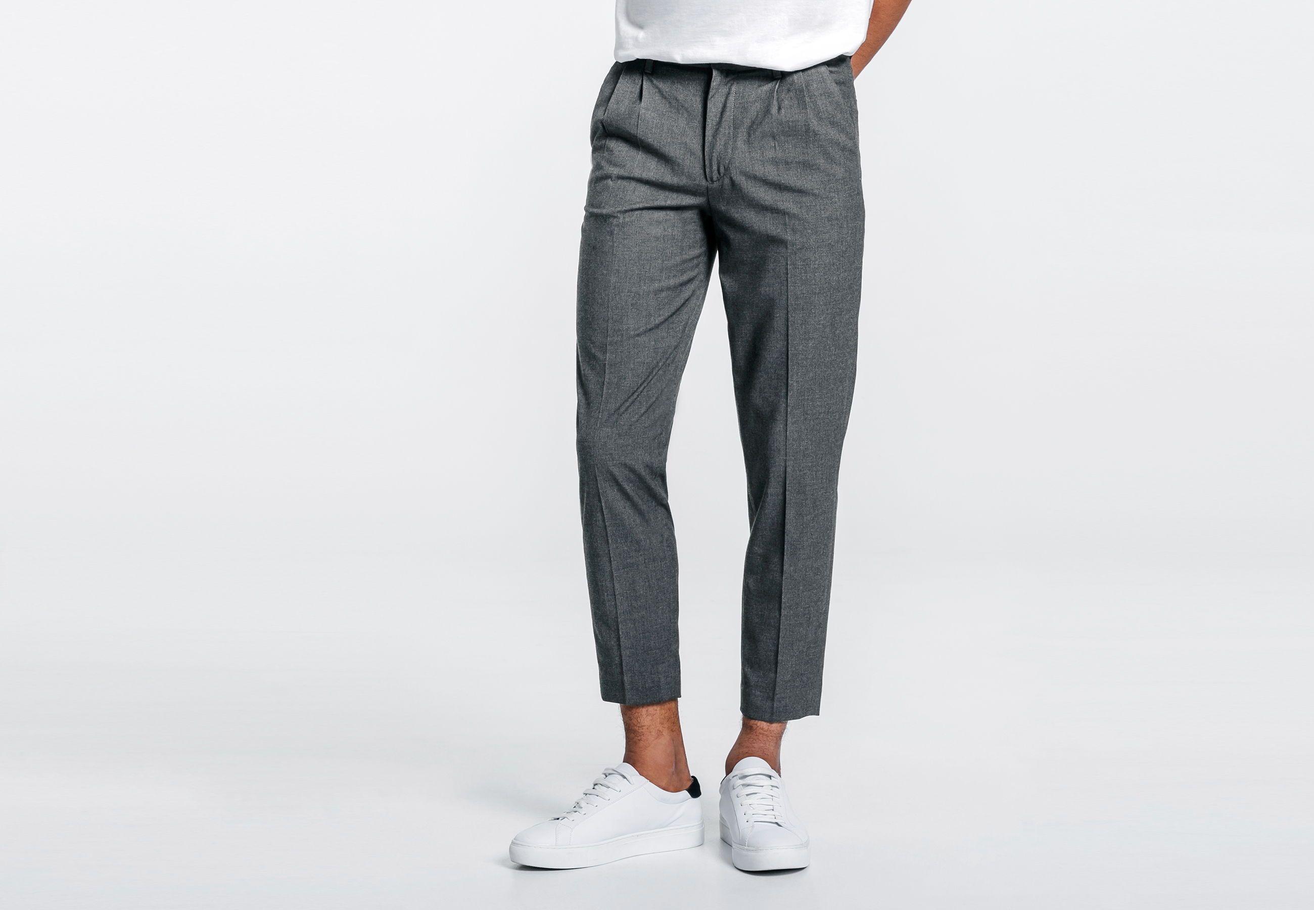 De Haute Qualite Pantalon A Pinces Destiné Pantalon à Pinces Cropped Gris Homme   Jules