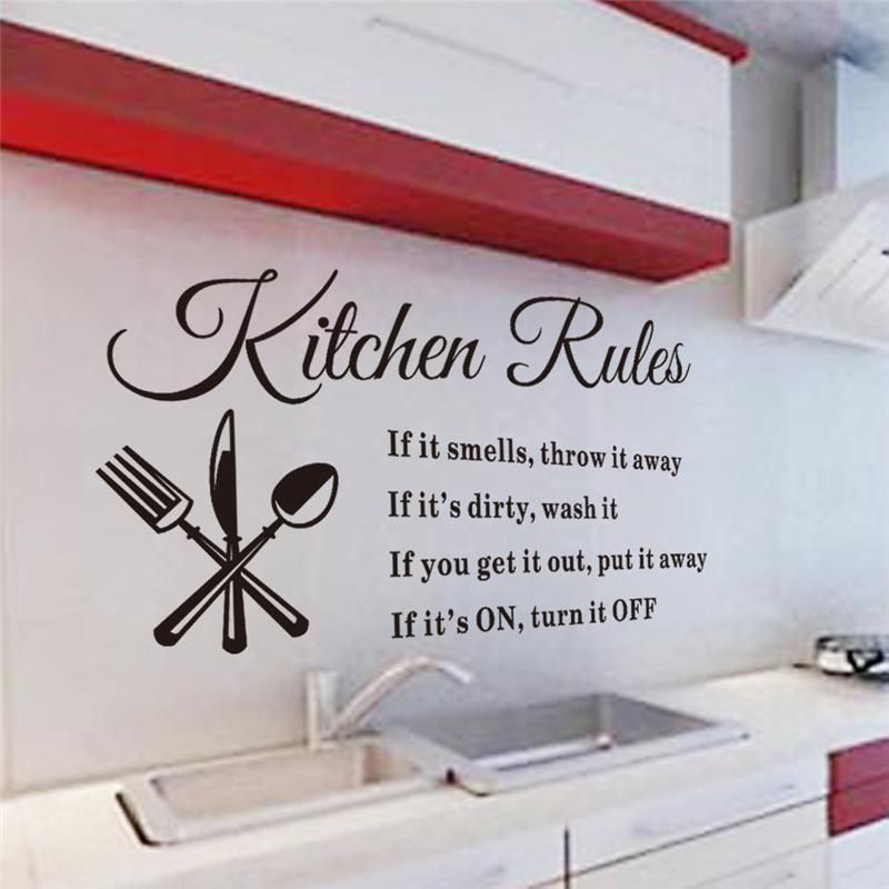Kitchen Rules Vinyl Wall Stickers Quotes For Kitchen Room Indoor Wall Art Decor Diy Removable D Kitchen Wall Decals Wall Stickers Home Wall Stickers Home Decor