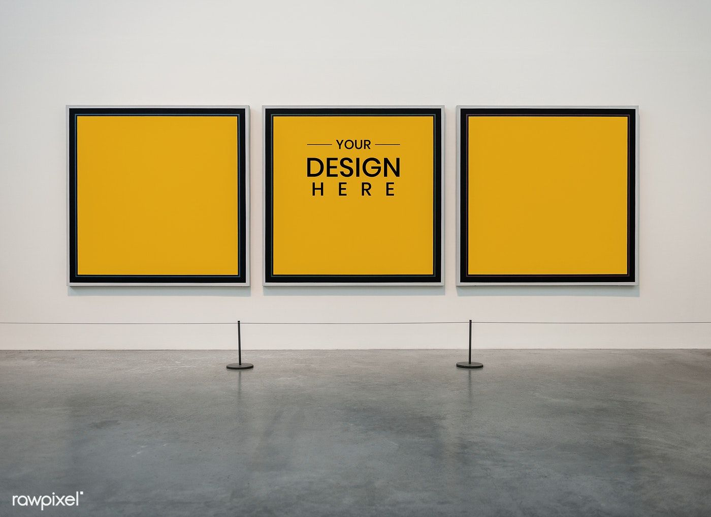 Yellow Frame Mockups In An Exhibition Premium Image By Rawpixel Com Oreo Chit Tong Frame Mockups Frames On Wall Blue Picture Frames