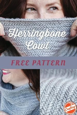 Create A Quick Knit Cowl In Just One Hour With The Free Herringbone