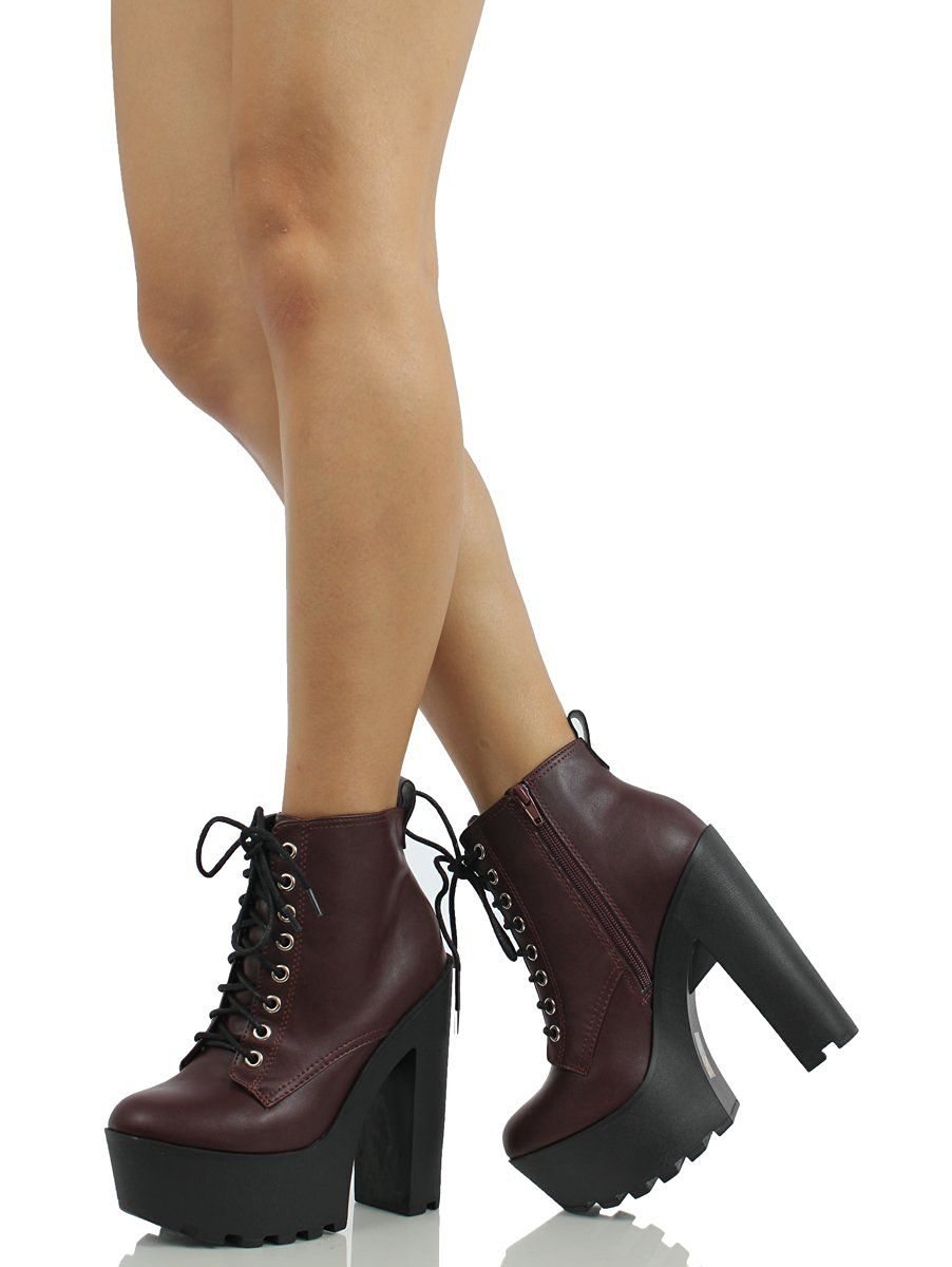 df79cc1d80558 Soda Women's Gru Faux Leather Lace-Up Thick Platform Chunky Heel Lug. This  dark wine color is everything! I love a good chunky heel for the fall.  mhmmmm ...