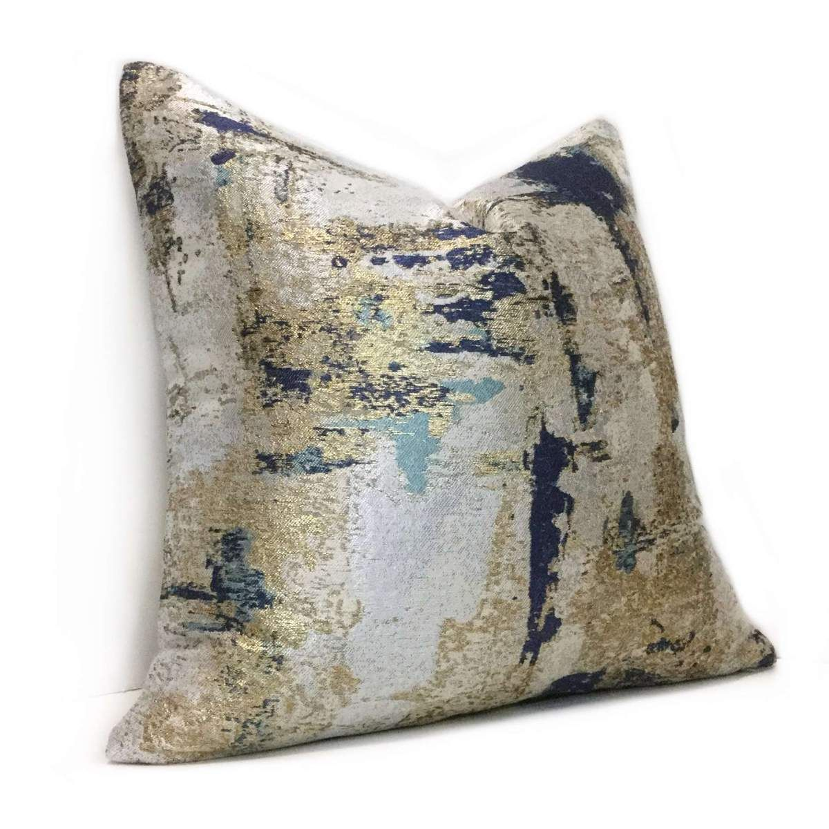 Metallic Gold Blue Gray Quartz Texture Pillow Cover Aloriam Pillow Texture Decorative Pillow Covers Pillows