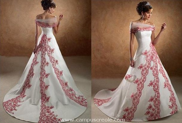 Http Www Campuscreole Com Shop Images Mariee Robe Mariee Rouge 2010 1 Jpg Red Wedding Dresses Burgundy Wedding Dress Red White Wedding Dress