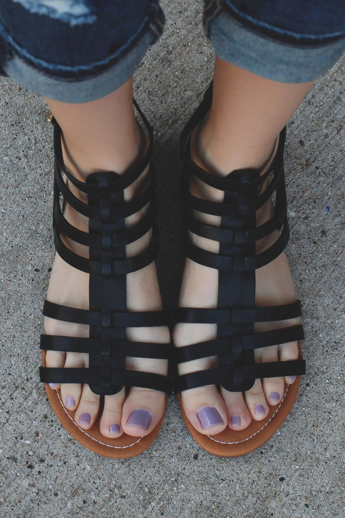 84472d382b8 Black Buckle Accent Strappy Gladiator Sandals